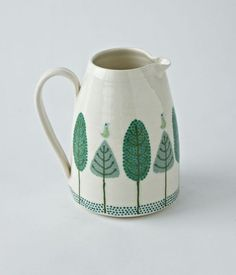 Ceramic jug by Katrin Moye- love this leaf design and shades of green.