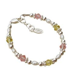 Baby and Children's Bracelets: Sterling Silver, Freshwater Pearls and Lead-Free Crystal Bracelets $31.28