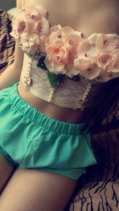 Rave strapless Bra Bustier Festival Bra Bustier with Flowers, Rhinestones, and Pearls on Etsy, $50.00