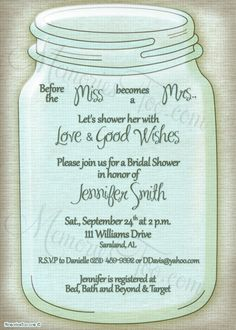 mason jar wedding invitations | ... style and color scheme Mason Jar Wedding Invitation Shower Invitation