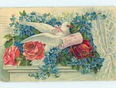 Pre Linen Beautiful Dove Bird Sitting in Rose Forget Me not Flowers HL6051 | eBay
