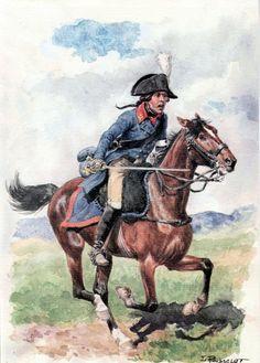 Cavalerie noble de l'armée de Condé (ici entre avril 1793 et avril 1794). Planche de Lucien ROUSSELOT. Noble cavalryman at the Armée de Condé (between April 1793 and April 1794). Plate by Lucien ROUSSELOT