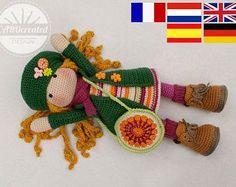 Crochet pattern for doll IDA, pdf  (Deutsch, English, Nederlands, Español, Français)