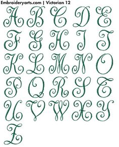 Specializing in designs for computerized embroidery machines since Individual letters, complete Monogram Sets and Collections available for purchase. Calligraphy Fonts Alphabet, Alphabet Symbols, Tattoo Lettering Fonts, Hand Lettering Alphabet, Graffiti Lettering, Lettering Styles, Lettering Design, Cursive, Calligraphy Tutorial
