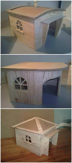 #PalletDoghouse, #RecyclingWoodPallets Dog houses made with repurposed pallets and other reclaimed wood.
