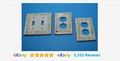Ceramic floral rose pink double LIGHT SWITCH PLATE & 2 OUTLET PLUG COVER | eBay