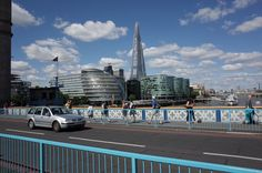 LONDON VIEW ON TOWER BRIDGE TOWARDS THE SHARD OF GLASS BUILDING AND CITY HALL