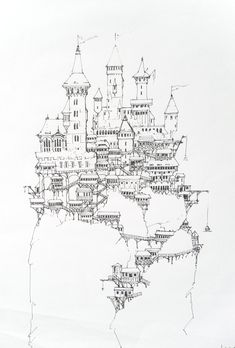 The large amount of horizontal lines make this castle appear stable even though it is perched in a somewhat precarious position. Fantasy City, Fantasy Castle, Fantasy House, Fantasy Map, Castle Sketch, Castle Drawing, Environment Sketch, Castle Illustration, Simple Line Drawings