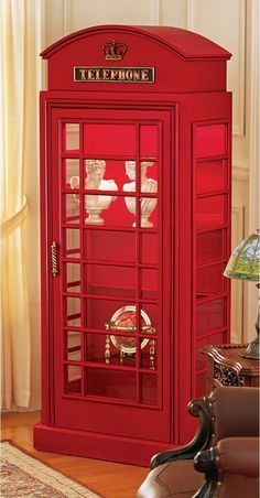 Charming replica of british phone booth display cabinet. has 4 removable glass shelves. on sale. this item ships from main warehouse. Big Ben, Booth Decor, Telephone Booth, Bedroom Themes, Glass Shelves, British Style, Home Decor, Curio Cabinets, Wood Furniture