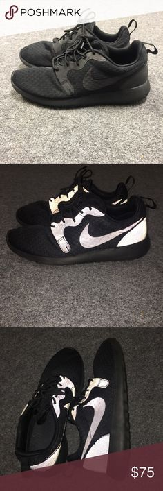 REFLECTIVE NIKE ROSHES (all black) Reflective roshe runs. I bought these for myself in the mens section but are alightly big. I wear a womens 9.5 but these would probably be a womens 10. These are a mens shoe size 9. Lightly worn. They are clean and good to go! Super cool for running at night!!! No trades and please no lowballing! I am a lover of shoes as you can see from my closet so i treat my shoes with care :) Nike Shoes Sneakers