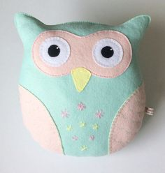 Felt Owl Pillow Owl Cushion Handmade by SewJuneJones on Etsy