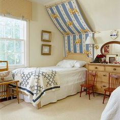 attic Bedroom for kids with sloping ceiling poster bed