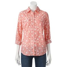 Croft & Barrow® Floral Roll-Tab Shirt - Women's #Kohls #fall
