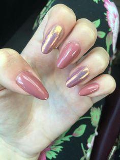Dark nude pink dusky shimmer oil nails