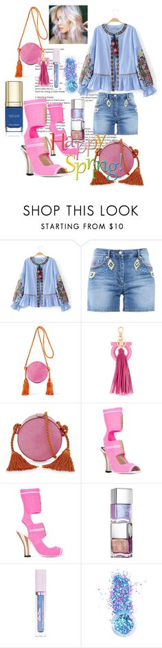 """""""Happy Spring"""" by fabianajuan ❤ liked on Polyvore featuring Moschino, Hillier Bartley, Salvatore Ferragamo, Fendi, Lime Crime, In Your Dreams and Dolce&Gabbana"""