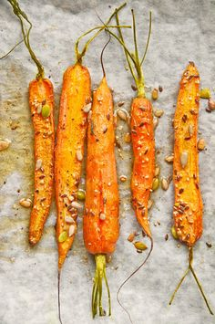 Roasted Carrots in Olive Oil with a Seed Mix using Pumpkin, Flax, sunflower and Sesame Seeds.