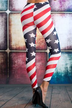 women American Flag Stars and Stripes Printed USA Girls Leggings 8-22