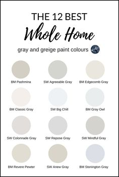 The 12 Best 'Whole Home' Gray and Greige Paint Colours Most Popular Paint Colors, Best Gray Paint Color, Greige Paint Colors, Neutral Paint Colors, Interior Paint Colors, Paint Colors For Home, Grey Colors, Best Paint For Home, Paint Colors For Bathrooms