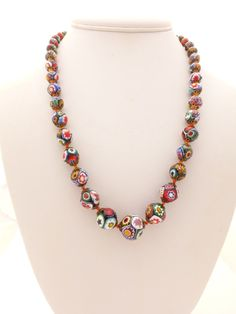 Vintage Venetian Millefiori Graduated Hand Knotted Bead Necklace #Necklace