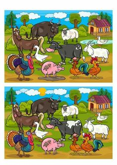 Soek 10 verskille on the App Store Find The Difference Pictures, Spot The Difference Kids, Preschool Learning Activities, English Activities, Fun Activities, Visual Perception Activities, Picture Comprehension, Free Printable Puzzles, Cute Animal Illustration