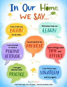 """""""Mindset Matters"""" Posters for Home & Classroom - Big Life Journal. Coping Skills, Social Skills, Life Skills, Teaching Kids, Kids Learning, Growth Mindset For Kids, Affirmations For Kids, Life Journal, Social Emotional Learning"""