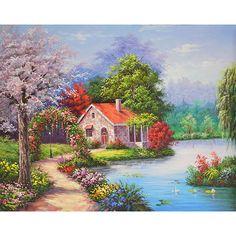 5D Diamond Embroidery Painting Diy Home Decor Craft Lake House Cross Stitch