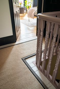 How to achieve your perfect stair runner - The Frugality Interior Stairs, Modern Victorian Homes, Staircase Design, Hallway Flooring, Stairway Design, Stair Runner, Painted Stairs, Tiled Hallway, Narrow Hallway Decorating