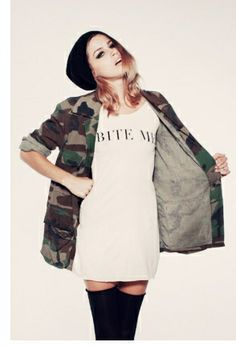 camo jacket and those thigh highs really go with it the shirt should've said eat me.. - Find 150+ Top Online Shoe Stores via http://AmericasMall.com/categories/shoes.html
