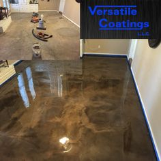 #metallic #epoxy #floor making ugly beautiful! Floor had so many cracks it looked like a jigsaw puzzle.