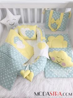 Modastra Babynest Green and Yellow Star Patterned Luxury Baby Nest Set - Pregnancy Baby Crib Sets, Baby Bedding Sets, Quilt Baby, Baby Nest Pattern, Maternity Dresses For Baby Shower, Kit Bebe, Baby Sewing Projects, Baby Room Decor, Baby Crafts