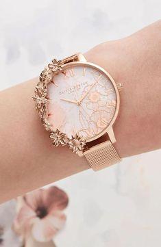 Manschetten Rose Gold Mesh - Womens watches - in 2020 Trendy Watches, Gold Watches Women, Elegant Watches, Beautiful Watches, Watches For Men, Cheap Watches, Women's Watches, Wrist Watches, Luxury Watches Women