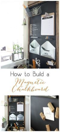DIY Home Decor! How to Build a Magnetic Chalkboard - perfect idea to organize your family! Love this rustic, industrial command center!
