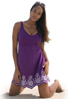 2f9ae87b73bd4 Jessica London Women s Plus Size Swimdress With Embroidery Grape Jam  Combo