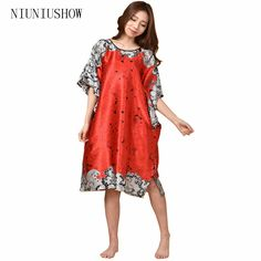 66418d9fe7 Sexy Coffee Female Silk Rayon Robe Bath Gown Nightgown Summer Casual Home  Dress Printed Floral Sleepwear