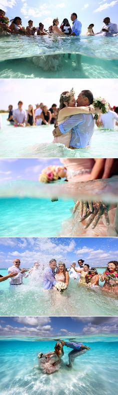 """EPIC ocean wedding: Does getting married in the middle of the ocean sound impossible? It wasn't for this couple! With 100 guests in attendance, the bride, who's a diving enthusiast, and her groom said """"I do"""" at a sandbar off the coast of Cozumel, Mexico, before the newlyweds did a """"trash the dress"""" underwater shoot! Wedding photography Del Sol Photography"""