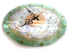 Hand painted glass wall clock Forest Fairy Tale