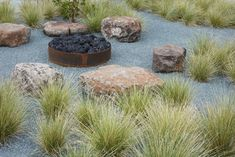 A Cor-ten steel fire pit with fieldstone seating is the centerpiece of a back meadow in a Sonoma garden designed by landscape architecture firm Terremoto. Photograph by Caitlin Atkinson. Garden Fire Pit, Fire Pit Backyard, Landscape Design, Garden Design, Landscape Architecture, Fire Pit Seating, Outdoor Seating, Modern Landscaping, Landscaping Ideas