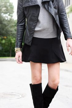 Fall Outfit - black leather jacket, grey sweater, black flounce skirt, black over the knee boots