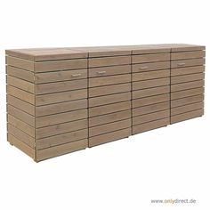 4er Mülltonnenbox PRIMUS - FSC Holz - 2 x 120 Liter