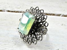 Vintage Mint Green Cocktail Ring, Green Crystal Rhinestone Ring, Silver Filigree Flower Adjustable Ring, 1960's Statement Costume Jewelry by RedGarnetVintage