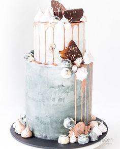 Pink Wedding Cakes Chic Concrete Wedding Cake with pink drip Floral Wedding Cakes, Cool Wedding Cakes, Wedding Cake Toppers, Concrete Cake, Cupcake Cakes, Cupcakes, 18th Cake, 18th Birthday Cake, Modern Birthday Cakes