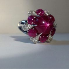 Star Ruby with diamonds ring.