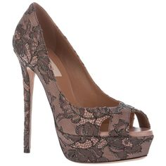 Pink cotton-covered leather pumps from Valentino featuring a black lace print, a peep toe, small cutout details to the front, a platform, a high stiletto heel and a leather sole. Lace Pumps, Peep Toe Pumps, On Shoes, Shoe Boots, Valentino Sandals, Herve Leger Dress, Designer Pumps, Leather Pumps, High Heels