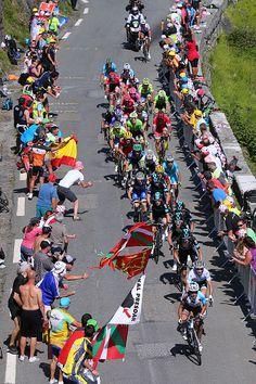 #TDF2016 103rd Tour de France 2016 / Stage 7 Peloton / Fans / Public / Col d'Aspin 1490m / Domenico POZZOVIVO / Julian ALAPHILIPPE best White Young Jersey /...