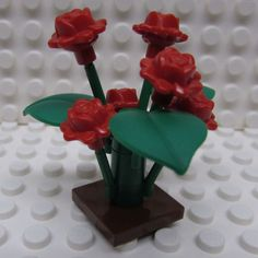 Lego Rose Bush Plant with Six Red Roses and by TheMerryBeader