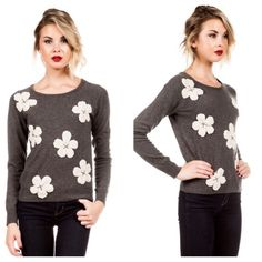 Spotted while shopping on Poshmark: Gray sweater with flowers! #poshmark #fashion #shopping #style #Flirty Meow Boutique  #Sweaters