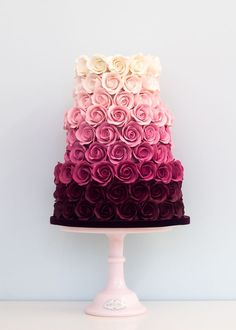 Ombre Rose Wedding Cake This is beautiful. And they got to have it for a wedding…