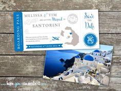 Santorini wedding save the date boarding cards Www.hopeyoucanmakeit.co.uk