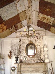 Gorgeous Tin Ceiling Tiles Paintedpatinaed On The Wall DIY - Ceiling tile vendors