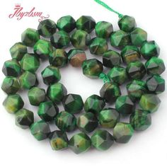 """8mm Faceted Green Tiger Eye Gemstone Loose Beads Jewelry Making Strand 15"""" DIY #zybeads #Faceted"""